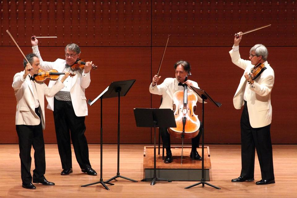 The Emerson Quartet in New York in August: (from left) Eugene Drucker, Philip Setzer, David Finckel, and Lawrence Dutton.