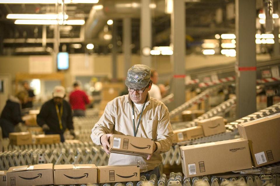 An Amazon.com worker at a Fernley, Nev., warehouse.