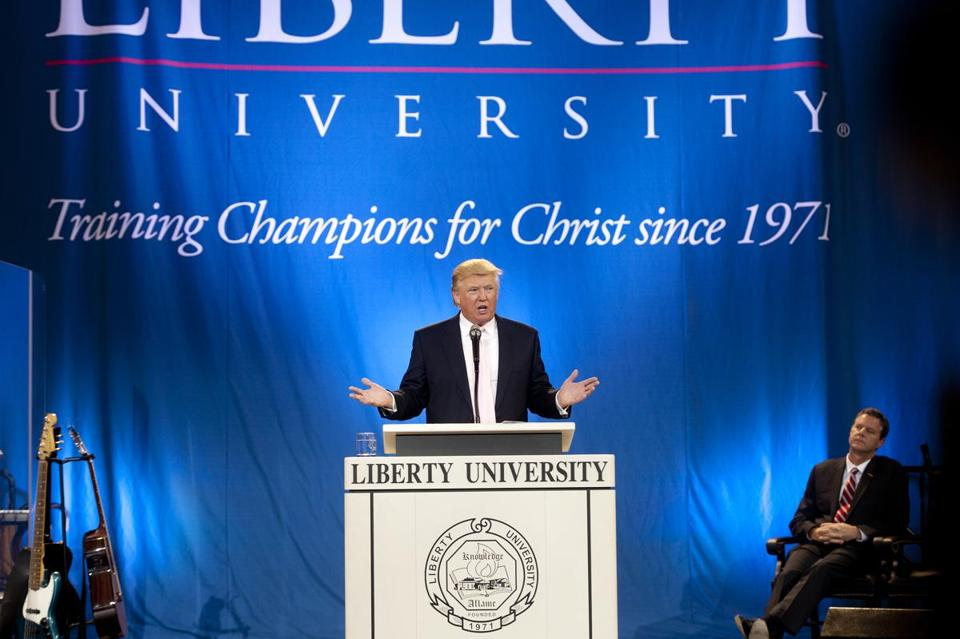 Donald Trump spoke at Liberty University in Lynchburg, Va., in September.