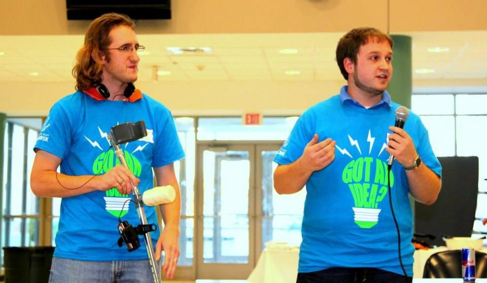 Adam McLaughlin (left) and Jordan Tye, both of Lowell, developed a custom crutch grip designed around the user's hand imprint that could control electronic devices.