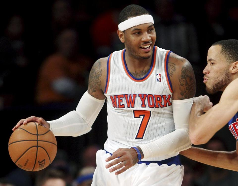 Carmelo Anthony scored 29 points in just 32 minutes against the Pistons.