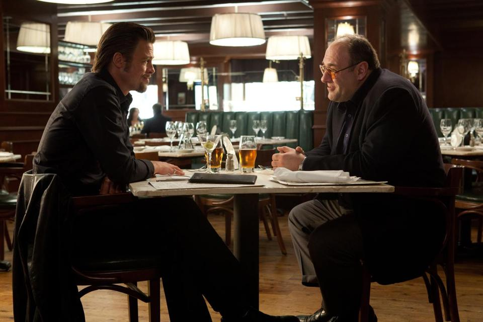 """Killing Them Softly,"" the just released crime movie starring Brad Pitt (left) and James Gandolfini, is based on George V. Higgins's novel ""Cogan's Trade,"" which was published four decades ago."