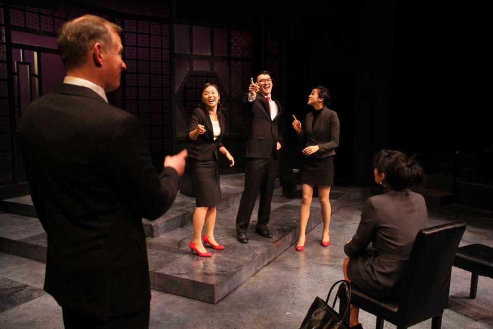 "Rehearsing the Lyric Stage Company production of ""Chinglish'' are Barlow Adamson, Elizabeth Eng, Chen Tang, Tiffany Chen, and Celeste Oliva."