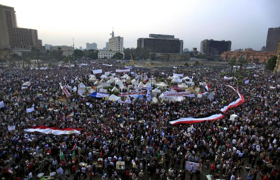 Egyptian protesters rallied in Egypt's Tahrir Square on Tuesday.