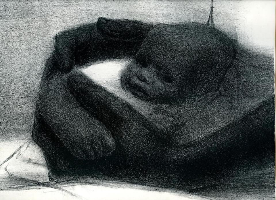 "Detail of ""Father and Child,"" a 1964 lithograph by John Wilson."