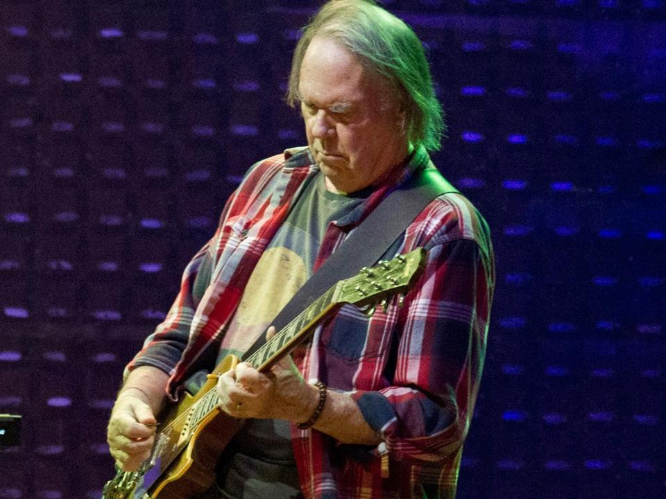 Neil Young performed with Crazy Horse Monday night at TD Garden.