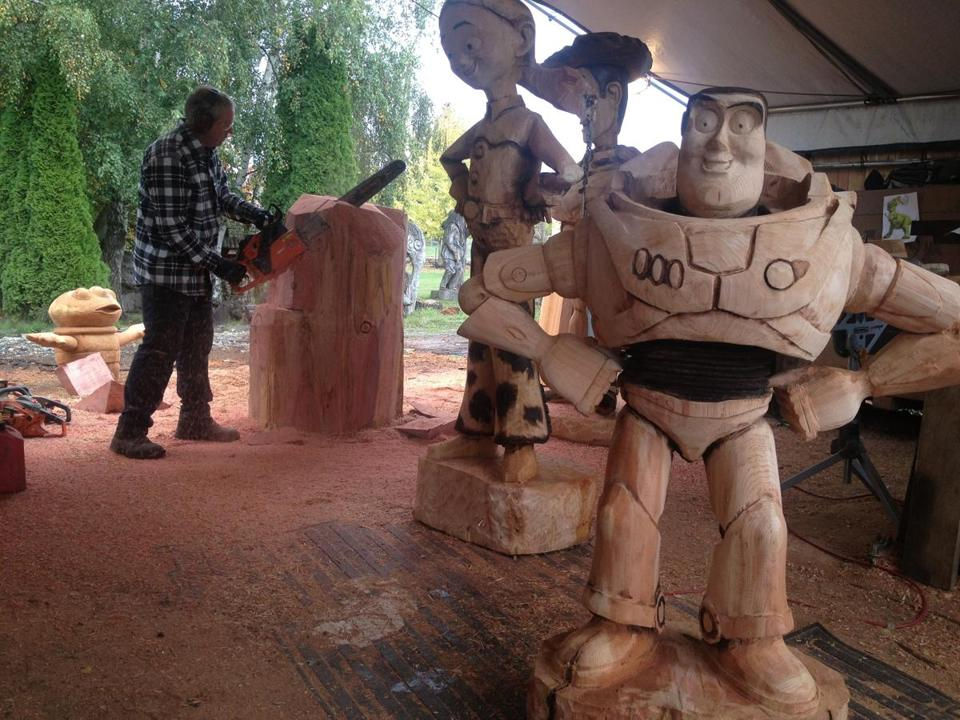 "Bob King's carvings of Buzz Lightyear and his ""Toy Story"" pals will be going up in a special tract at Jay Peak for the kids."