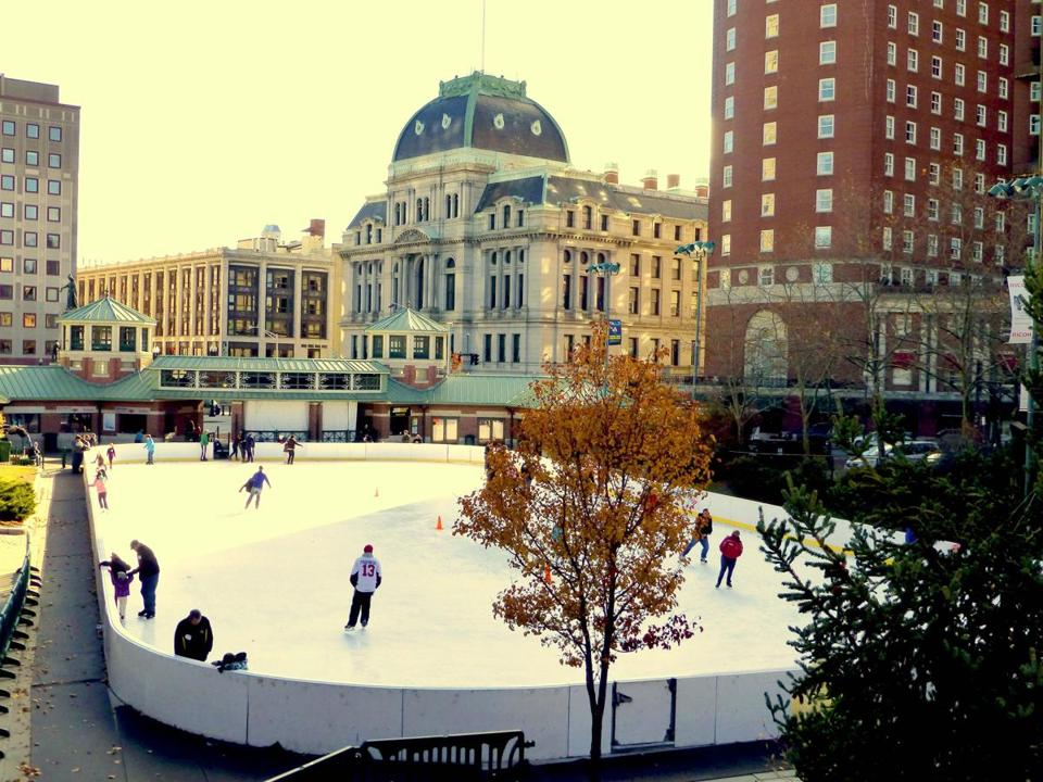 Bank of America City Center skating rink in the heart of downtown, and a koi pond at the Botanical Center at Roger Williams Park.