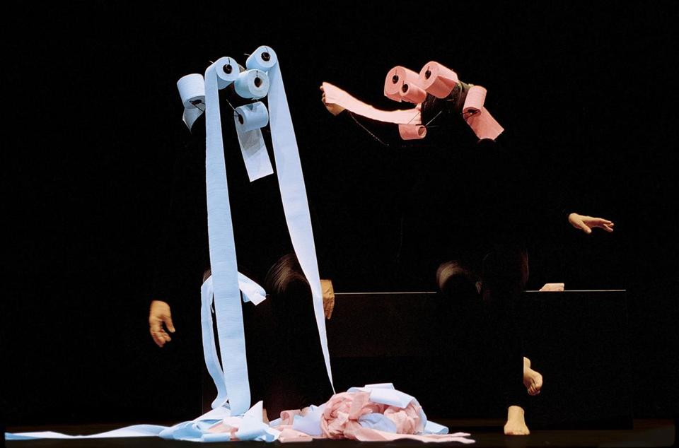 The magical creations from the Mummenschanz troupe include toilet paper-unraveling creatures.