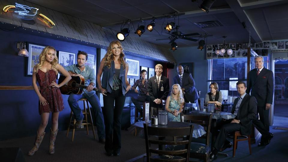 "The cast of ""Nashville,"" reimagined with the addition of Jack McBrayer (fifth from left)."
