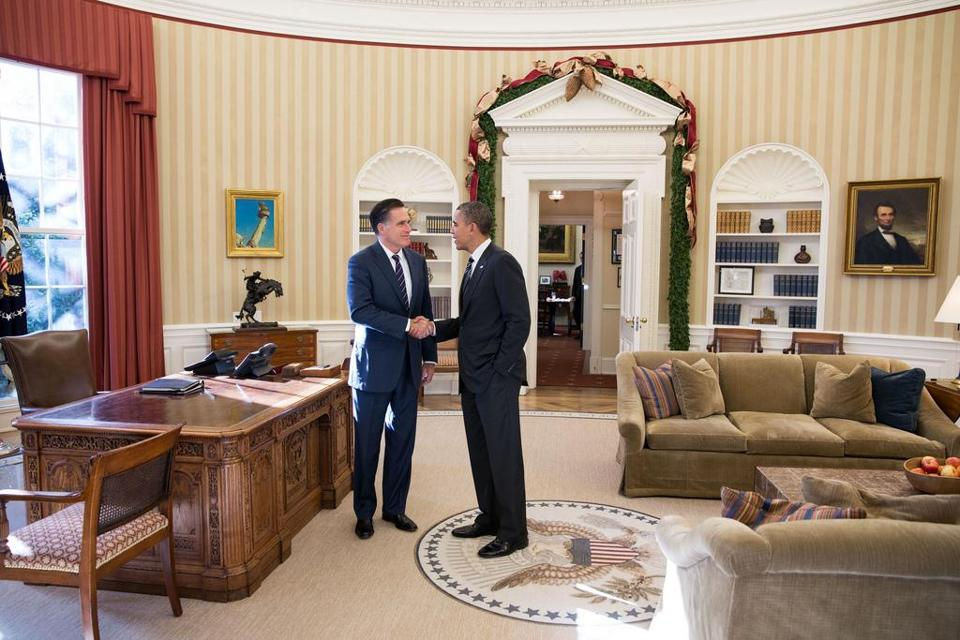 President Barack Obama and former Massachusetts Gov. Mitt Romney spoke in the Oval Office following their lunch.