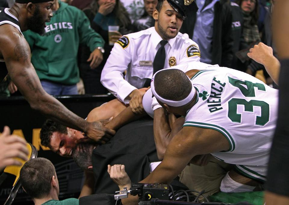 A fight erupted just before halftime during the Celtics game against the Nets at the TD Garden. Many players were involved, including Paul Pierce.