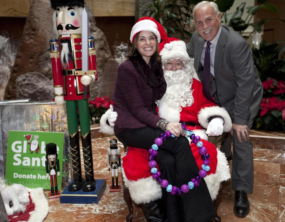 Lisa Pierpont, Boldfacers.com founder and editor-in-chief, and WCVB-TV anchor Randy Price visited Globe Santa.