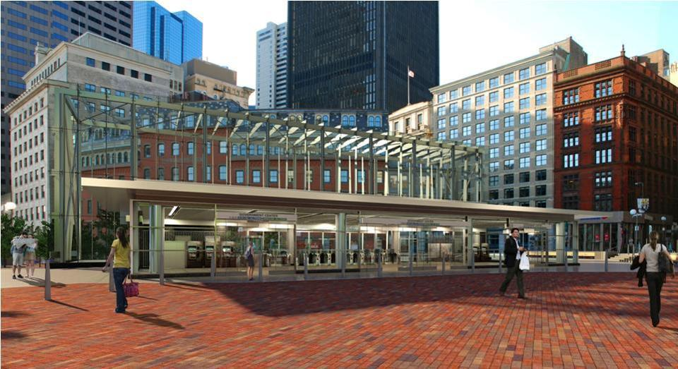 A rendering depicts Government Center station after renovations.