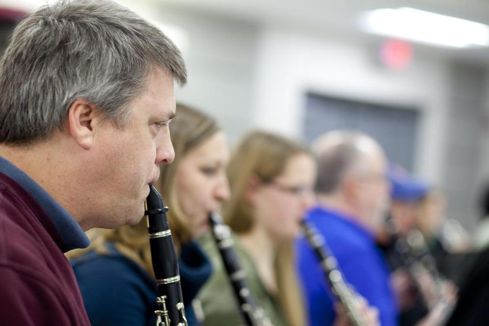 Clarinetist Paul Olson of East Providence rehearsed with the Sharon Concert Band at Sharon Middle School.