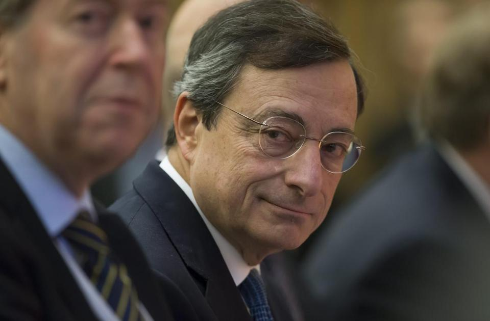 ECB president Mario Draghi gave a lecture in Paris Friday on economic competitiveness.