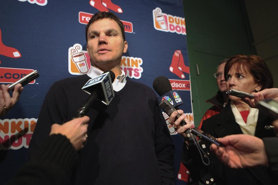 Ben Cherington, shown at Fenway Park on Saturday, is looking for fill holes in his pitching staff.