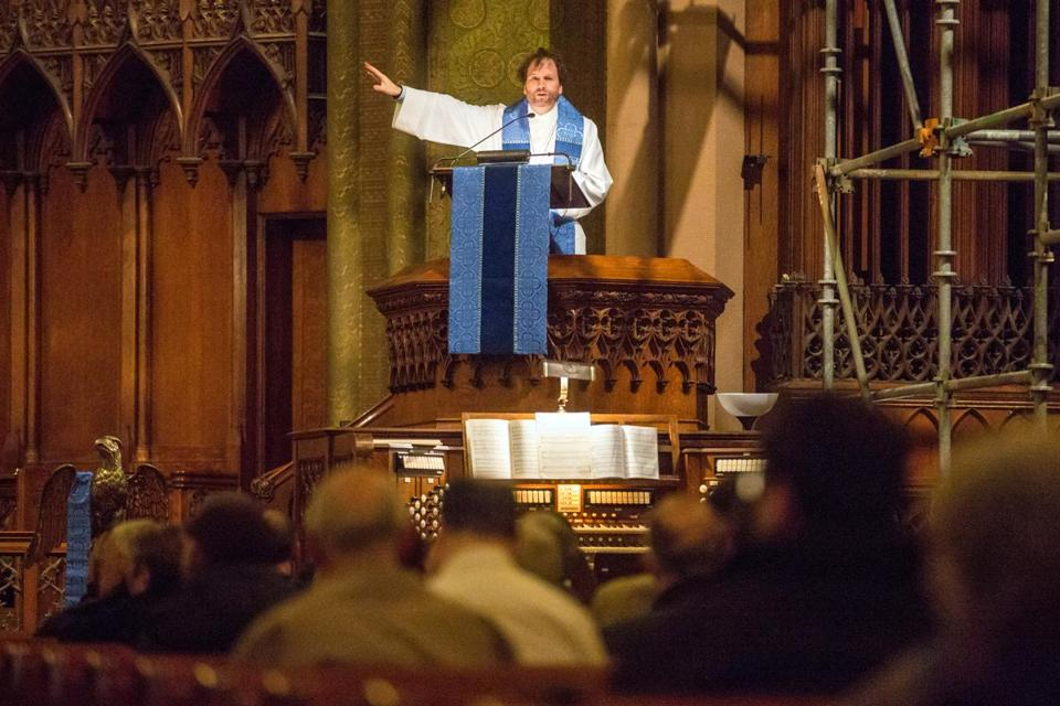 On Sunday, the Rev. Rob Mark, shown in December, and others celebrated the Church of the Covenant's designation as a national historic landmark.