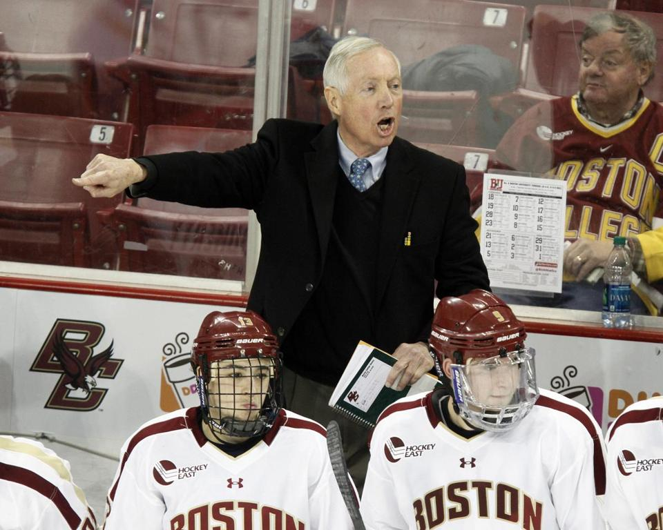 Boston College head hockey coach Jerry York gave instructions during Saturday's game against Boston University.