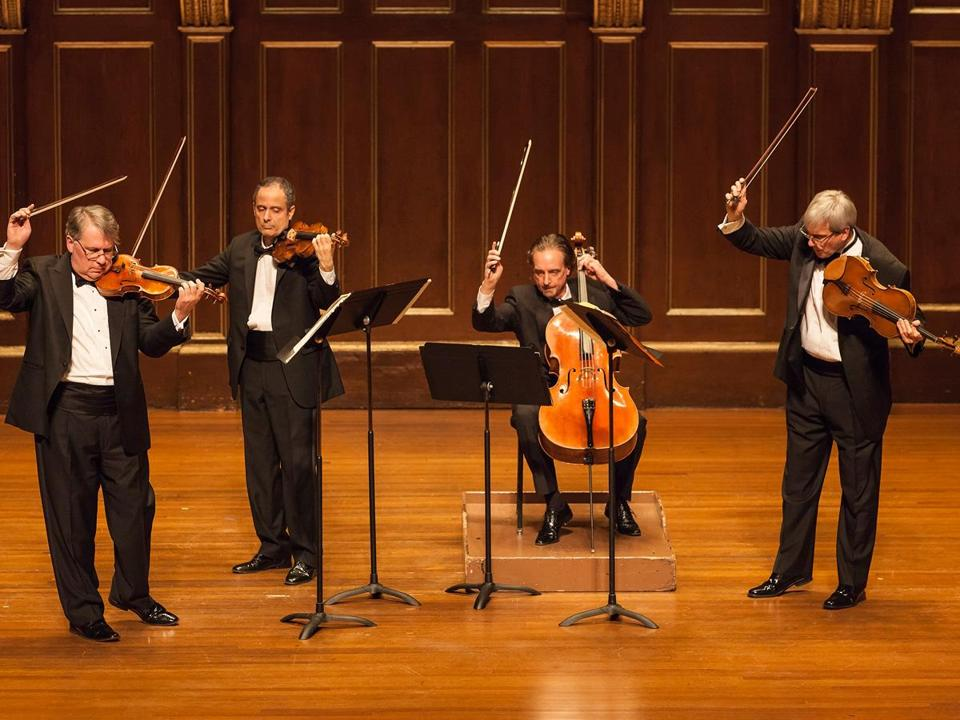 The Emerson String Quartet performs its final Boston recital with cellist David Finckel.