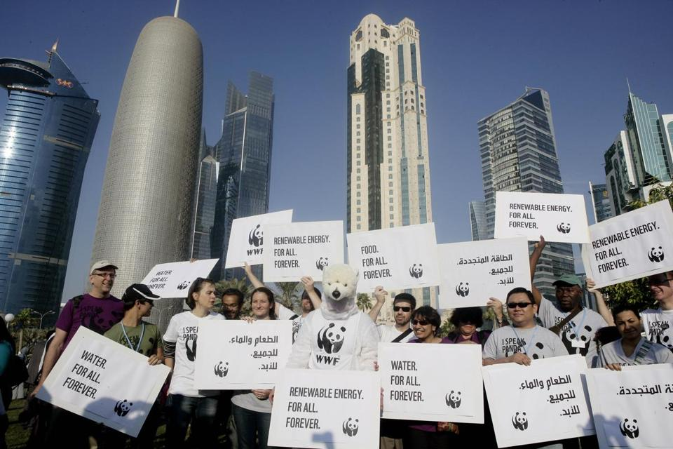 International and local activists demonstrated over the weekend at the UN climate talks in Doha, Qatar.