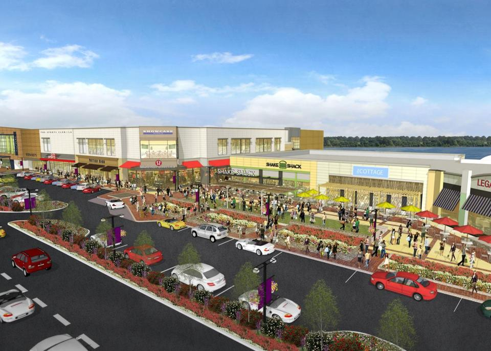 A designer's rendering depicts how the former Chestnut Hill Shopping Center — recently renamed The Street — is expected to look after a $50 million overhaul is completed.