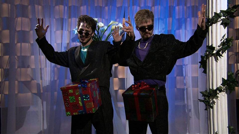 "Andy Samberg (left) and Justin Timberlake on ""Saturday Night Live"" in 2006 singing a song about their special gifts."