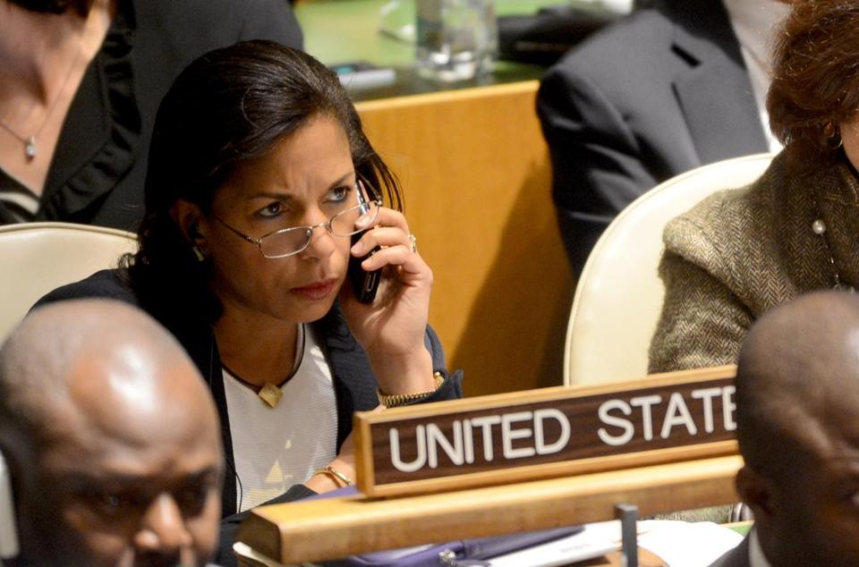 Susan Rice talked on her cell phone at the United Nations last week.