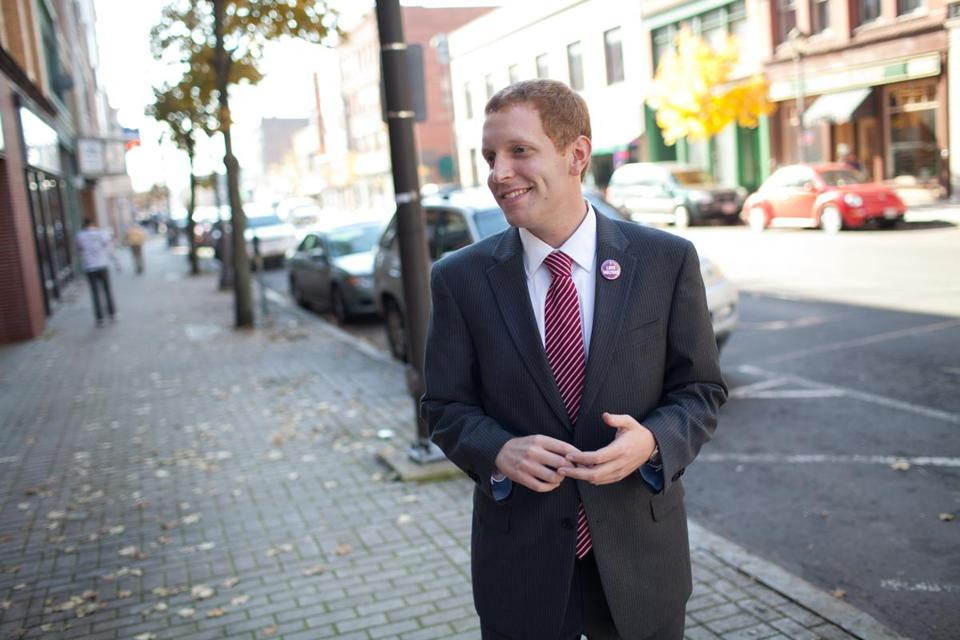 Alex Morse is pictured in downtown Holyoke the day after he was elected Mayor in November 2011.