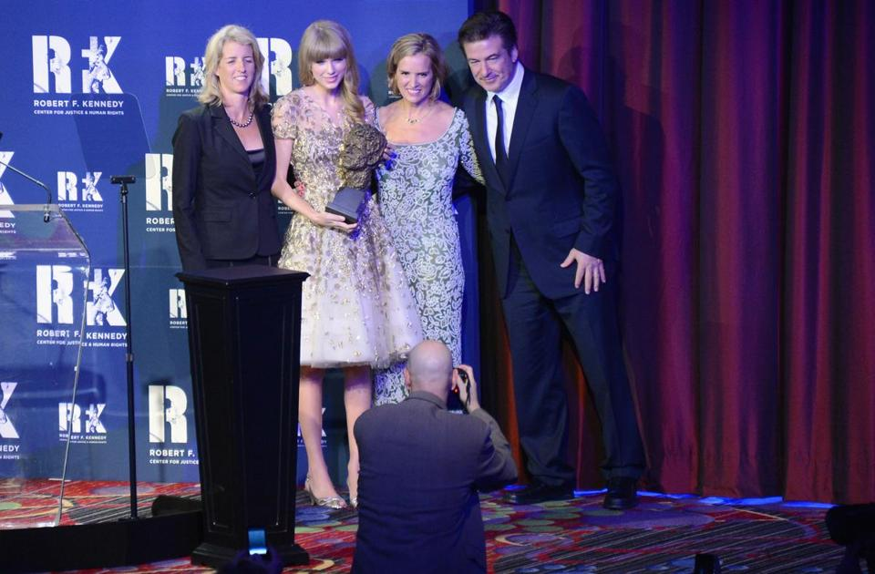 From left: Rory Kennedy, Taylor Swift, Kerry Kennedy, and Alec Baldwin at the Ripple of Hope Gala in New York City.