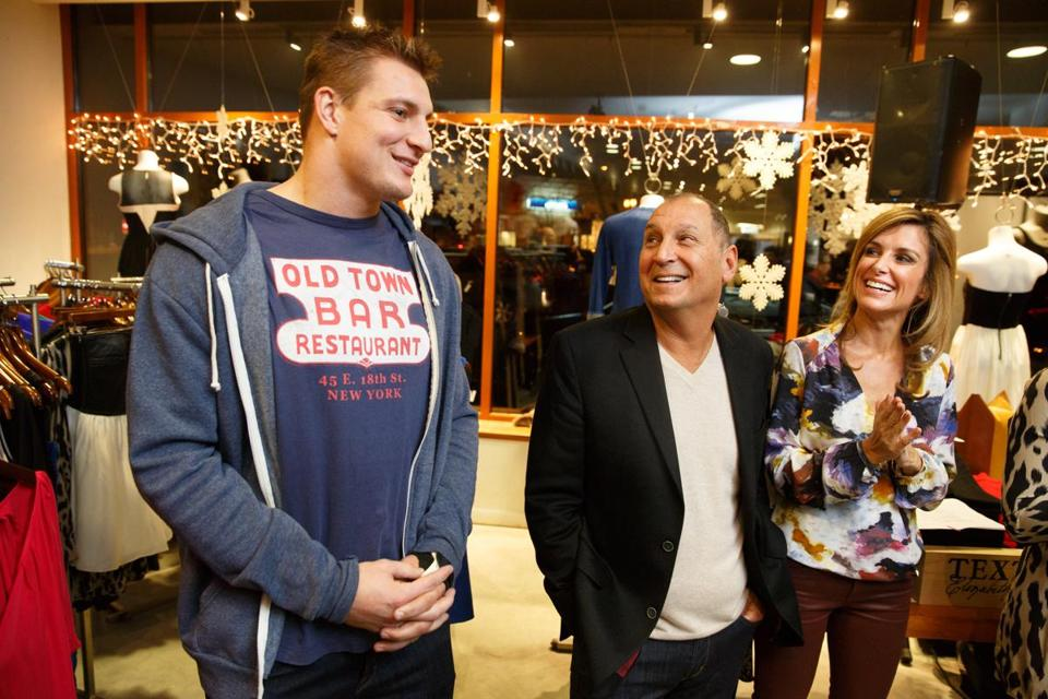 From left: Rob Gronkowski, National Jean Company owner Steve Simon, and Sara Underwood.