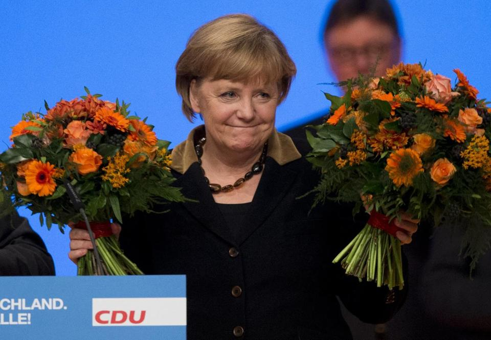 German Chancellor Angela Merkel was easily reelected Tuesday to lead her Christian Democratic Union party.