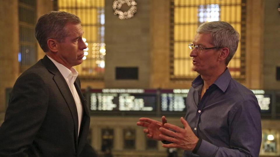 Apple chief executive Tim Cook (right) talked with NBC's Brian Williams on Thursday.