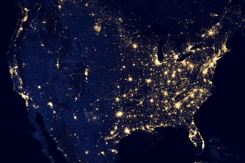 This image of the U.S. at night was assembled from data acquired by the Suomi NPP satellite in April and October 2012.