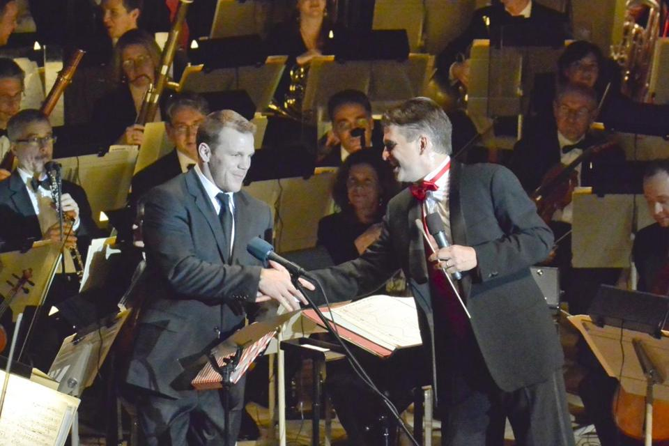 Bruins forward Shawn Thornton with Pops conductor Keith Lockhart.