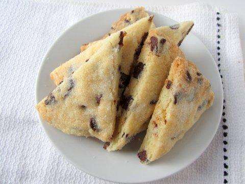 Chocolate-chunk shortbread triangles.