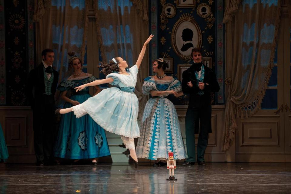 "Fiona Wada-Gill (center) as Clara in Boston Ballet's production of ""The Nutcracker."""