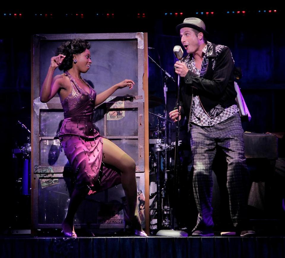 "Felicia Boswell as Felicia and Bryan Fenkart as Huey sing a song in ""Memphis."""