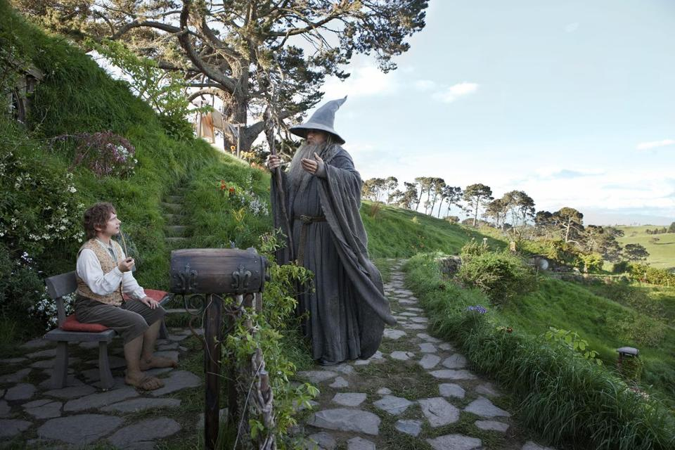 "Martin Freeman (left) and Ian McKellen in Peter Jackson's ""The Hobbit: An Unexpected Journey."""