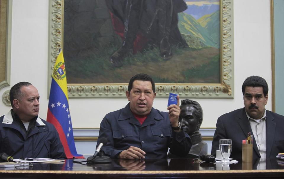 Venezuelan President Hugo Chavez sat next to Vice President Nicolas Maduro, right, and National Assembly President Diosdado Cabello during a national broadcast.
