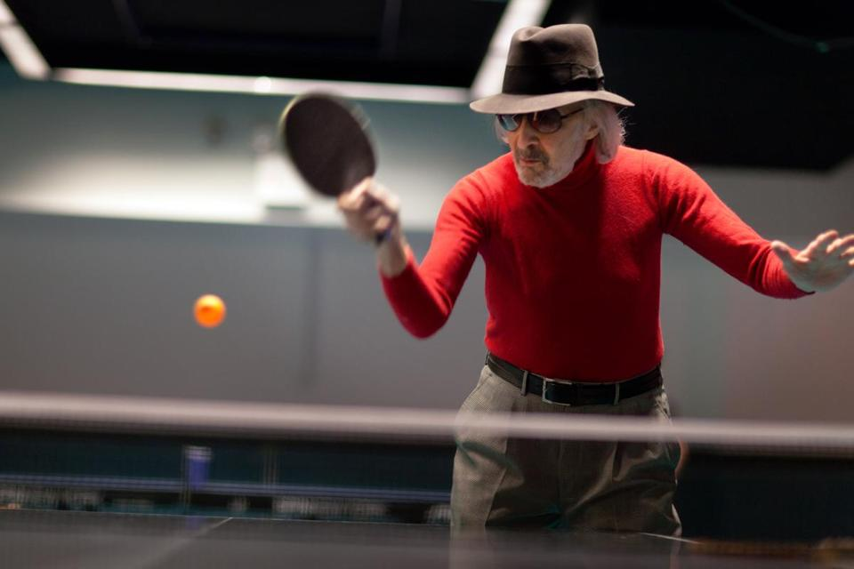 Marty Reisman at Spin, a Manhattan ping pong parlor.