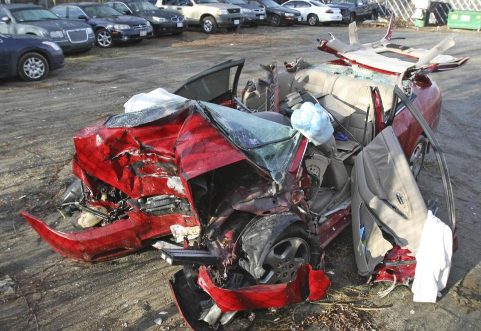 The 2001 Honda Accord, here Sunday in a Taunton tow lot, Nicholas Costa was driving when he crashed, killing two of his passengers and injuring four.