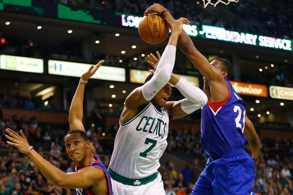 Celtics rookie forward Jared Sullinger is a one-man defensive wall against the 76ers.