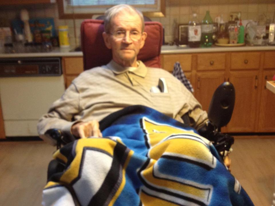 Ex-Bruin Ron Murphy, who was left unable to walk after a fall down stairs several years ago, at his home in Ontario.