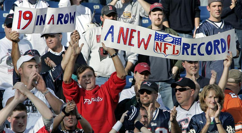 Fans were jubilant as the Patriots won for the 19th straight time.