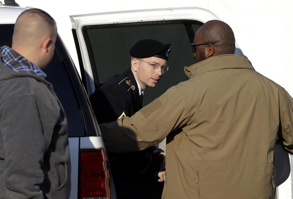 Army Private First Class Bradley Manning was escorted into a courthouse in Fort Meade, Md. Nov. 29. Manning is charged with aiding the enemy by causing hundreds of thousands of classified documents to be published on the secret-sharing website WikiLeaks.