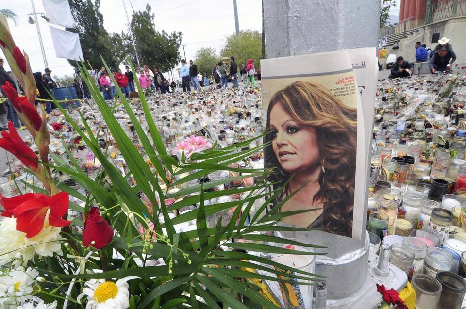 Hundreds of people took part in a tribute to Jenni Rivera at the Arena Monterrey, in Monterrey, Mexico, on Monday.