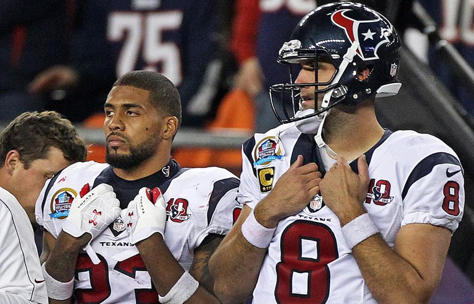 Texans running back Arian Foster, left, and quarterback Matt Schaub had little to smile about after the loss.