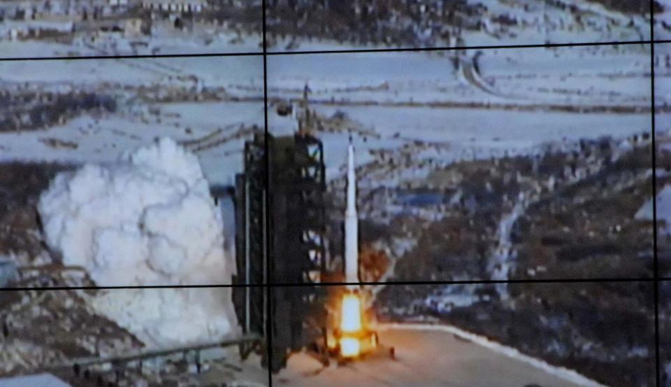 An image released by the Korean Central News Agencyshows a rocket launch.
