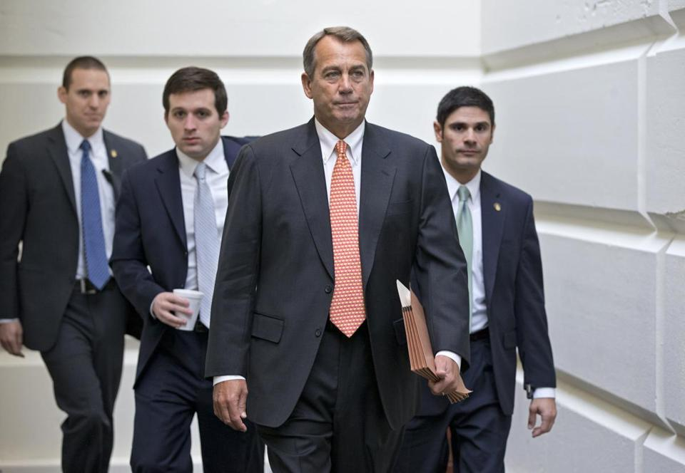 House Speaker John Boehner of Ohio went to meet with other GOP leaders Wednesday on Capitol Hill.